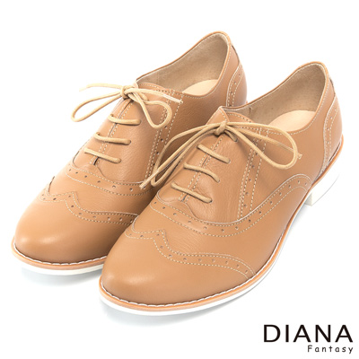 DIANA 英倫學院--復古原色車線綁帶真皮牛津鞋-棕