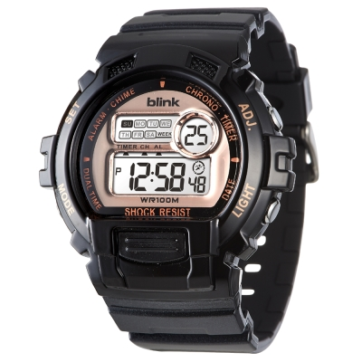 JAGA 捷卡 blink 陽光炫麗多功能運動電子錶-黑金/53mm