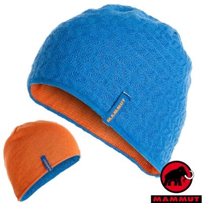 【MAMMUT 長毛象】中性新款 Nordwand 雙層雙面保暖帽子.針織_冰藍/日出橙