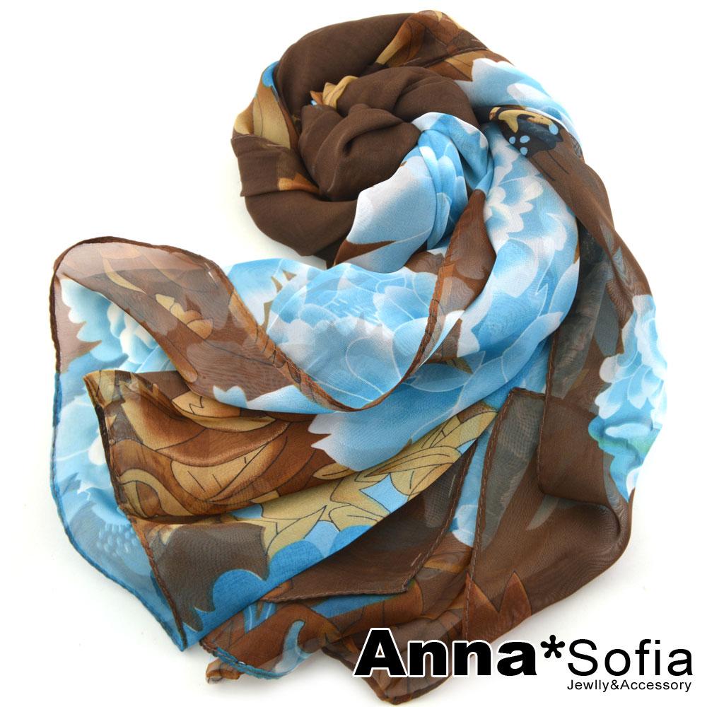 【2件450】AnnaSofia 蝶舞牡丹 雪紡長絲巾(咖藍系)