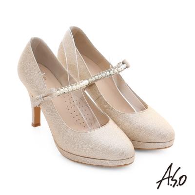 A.S.O 幸福華爾滋 金蔥布料背帶婚宴高跟鞋 金色