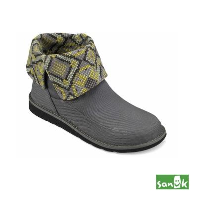 SANUK 反摺內印花中筒靴-女款(灰色)