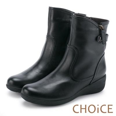 CHOICE個性復古真皮皮帶釦環坡跟短靴黑色