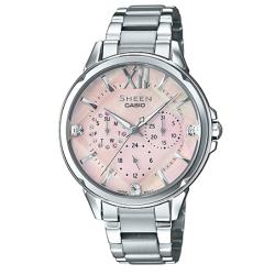 SHEEN 切割玻璃面設計羅馬時刻腕錶(SHE-3056D-4A)淡粉