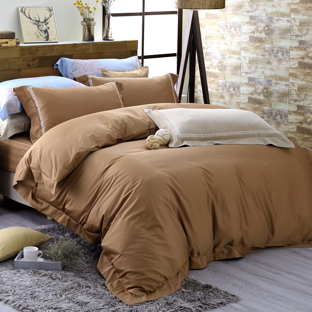 HOYAH Series溫暖棕 加大四件式500織刺繡匹馬棉被套床包組