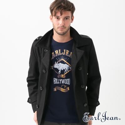 Earl Jean 雙排釦簡約毛呢短外套-黑色-男