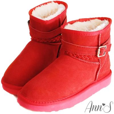 Ann'S甜蜜穿搭-麻花釦帶3way真皮雪靴 紅