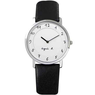 agnes b. 法式風情 簡約薄型腕錶(BG4001P1)-白/33mm