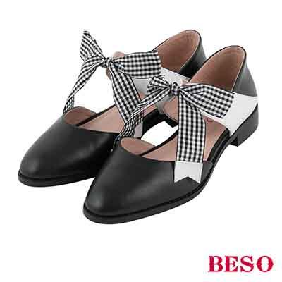 BESO 俏皮印象 全真皮甜美蝴蝶結撞色平底鞋~黑