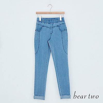 beartwo 休閒單寧伸縮長褲(藍色)