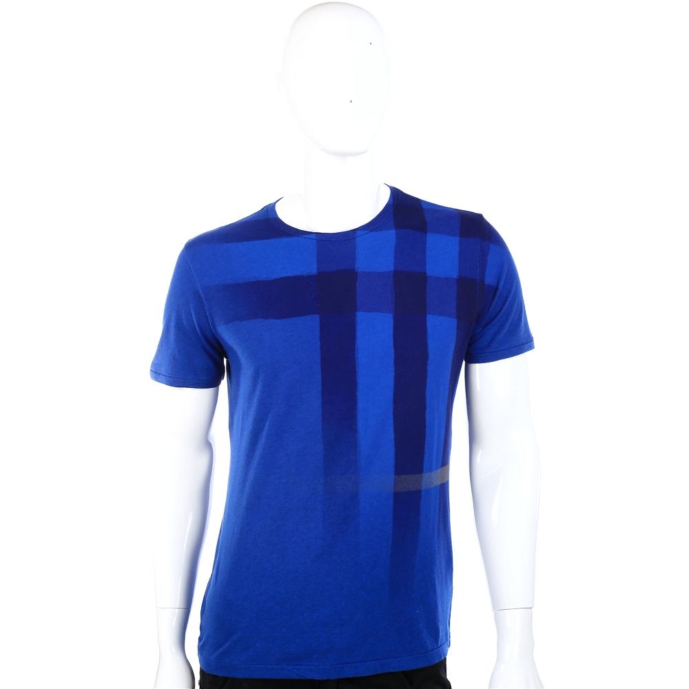 BURBERRY 漸層經典格設計短袖上衣 (藍色)