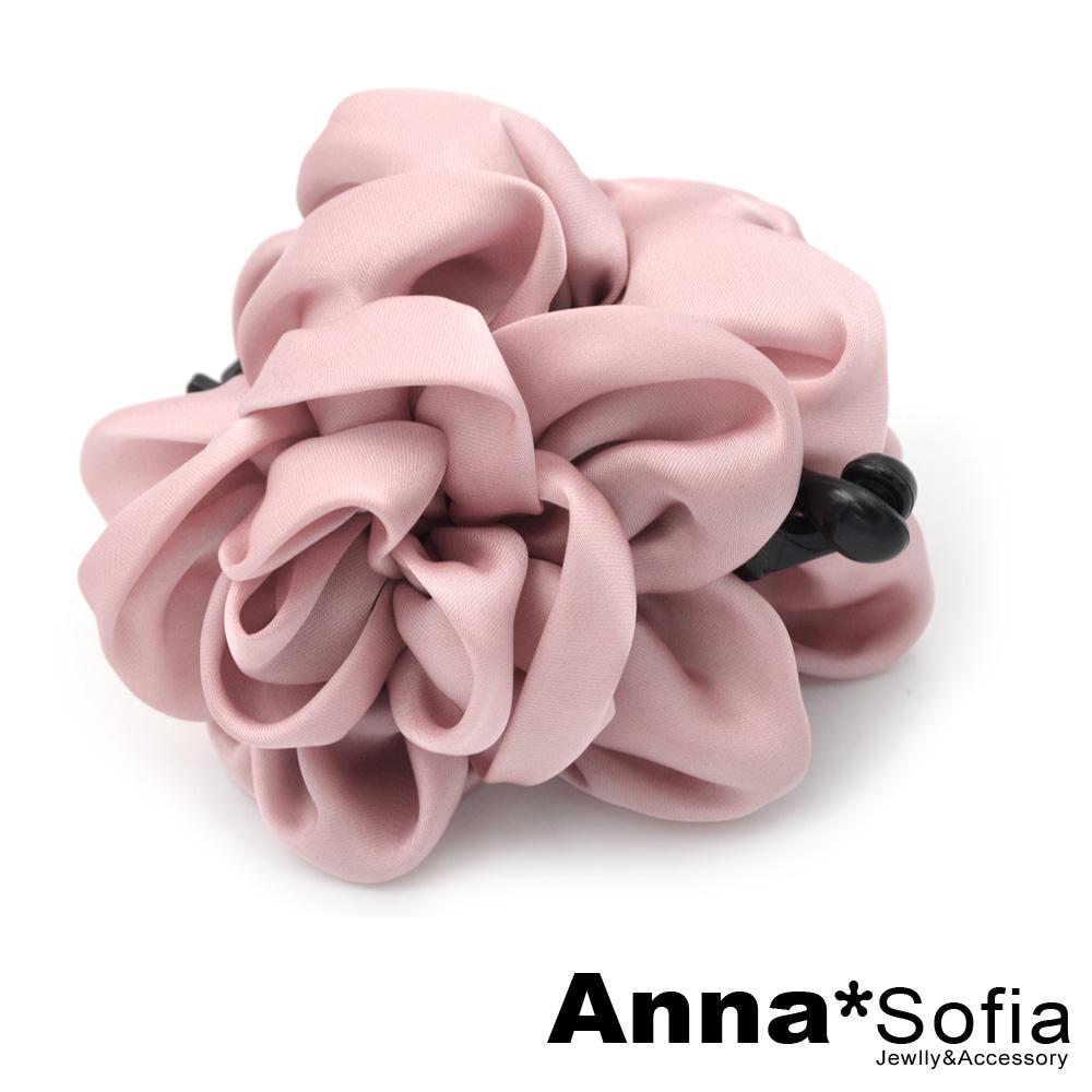 【滿額再7折】AnnaSofia 花綻亮緞 中大型髮夾豎夾(甜粉系)