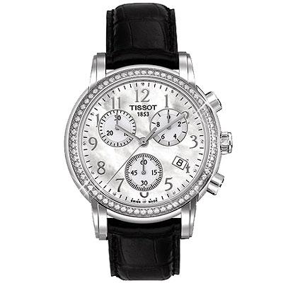 TISSOT Dressport 三眼計時鑽錶(T0502171611201)-銀/35mm T0502171611201