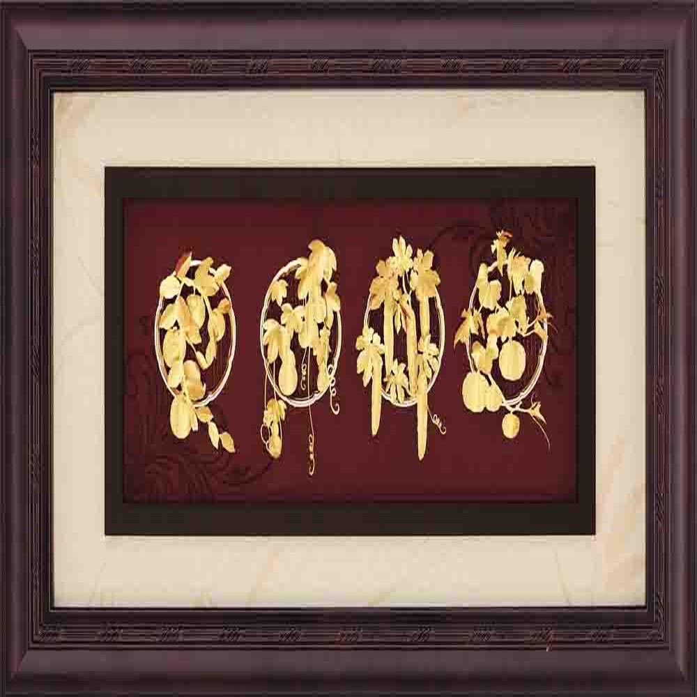 鹿港窯-立體金箔畫-豐收(框畫系列39x69cm)
