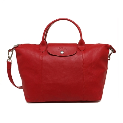 Longchamp 小羊皮系列  Pliage Cuir 手提/肩背包(中)-紅色