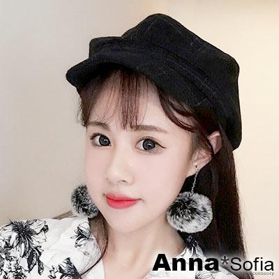 AnnaSofia 復古線格絨面 混棉報童帽貝蕾帽(黑系)