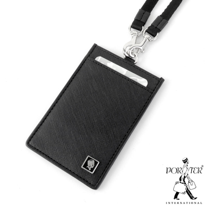 PORTER - 法式時尚BEND掛繩證件套 - 黑