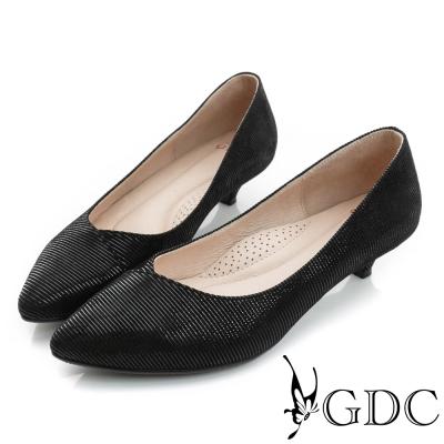 GDC-經典時尚細橫紋真皮尖頭低跟鞋-黑色