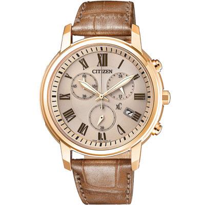 CITIZEN xC 自信魅力光動能計時錶(FB1433-01P)-玫瑰金色/37mm