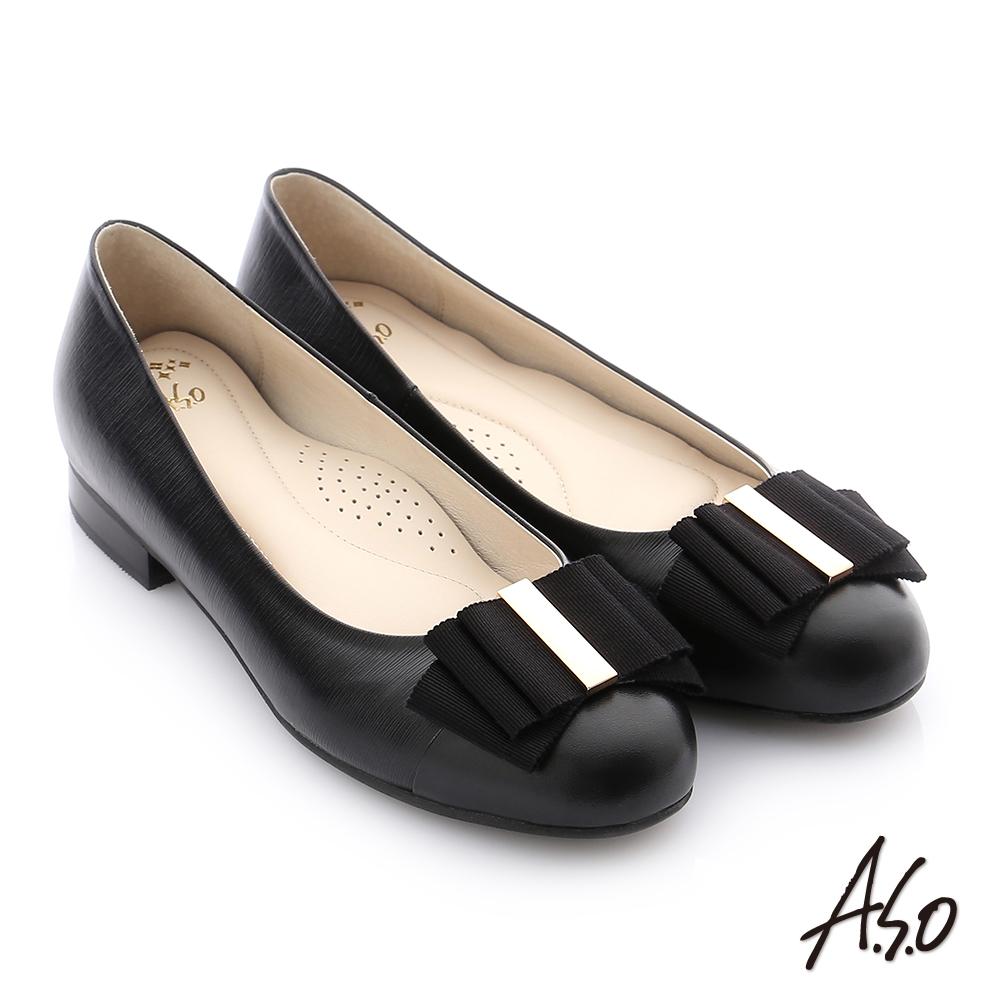 A.S.O 個性美型 牛皮立體蝴蝶結真皮質感奈米低跟鞋 黑色