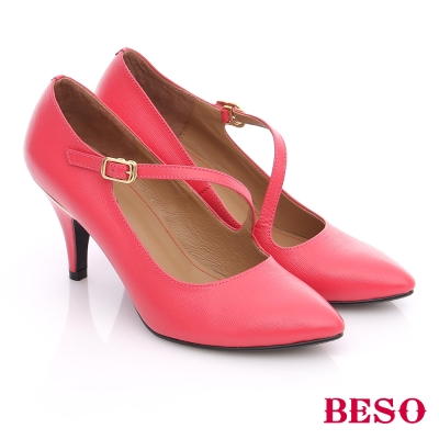 BESO-都會摩登女郎-壓紋牛皮斜帶S勾釦高跟鞋-桃粉紅色