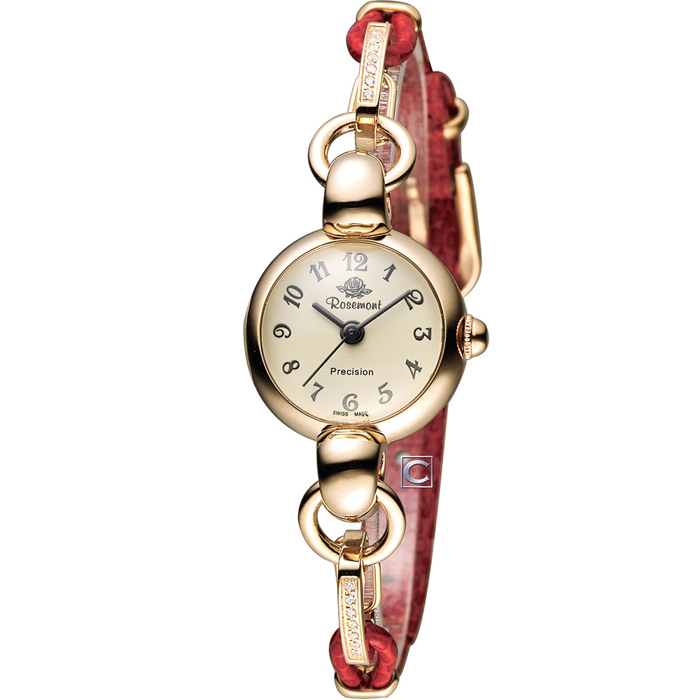 Rosemont 玫瑰錶藤蔓玫瑰系列I 時尚腕錶-玫瑰金x紅/21mm