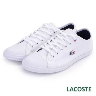 LACOSTE 女用帆布休閒鞋-白色