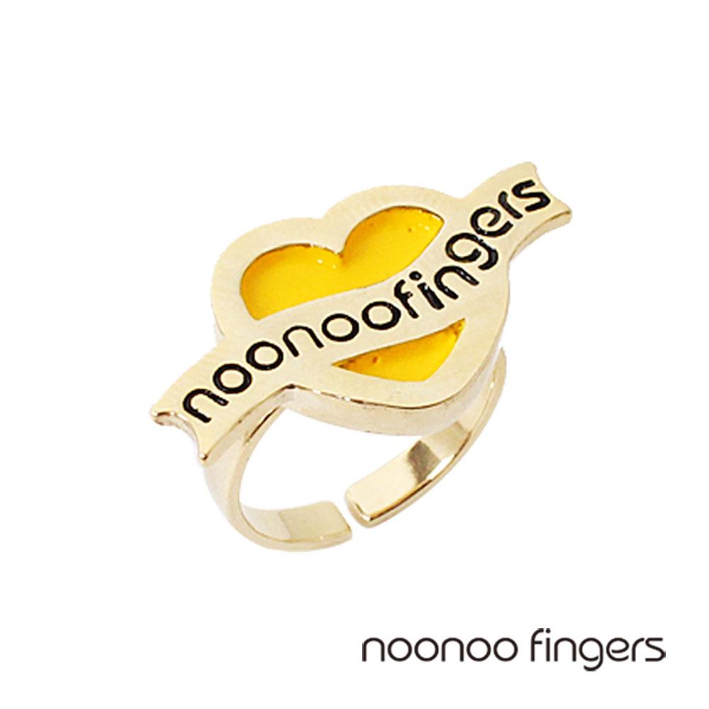 Noonoo Fingers Ribbon Heart Ring黃愛心絲帶戒指