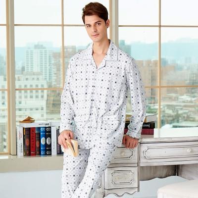 睡衣 精梳棉柔針織 男性長袖兩件式睡衣(68231)灰白方格紋 蕾妮塔塔