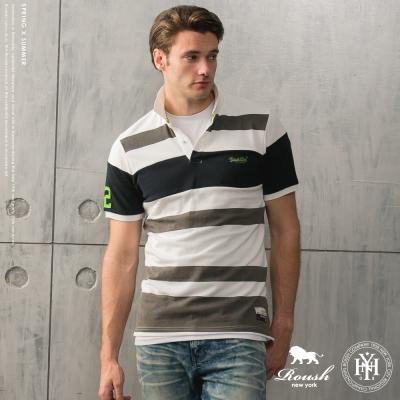 ROUSH 72 貼布寬版剪接橫紋Polo衫(1色)