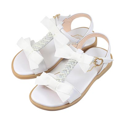 Swan天鵝童鞋-甜美珍珠蝴蝶結T字涼鞋 3843-白
