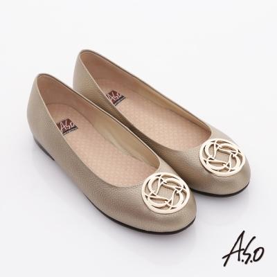 A.S.O 經典系列 全真皮立體壓紋奈米平底鞋 金