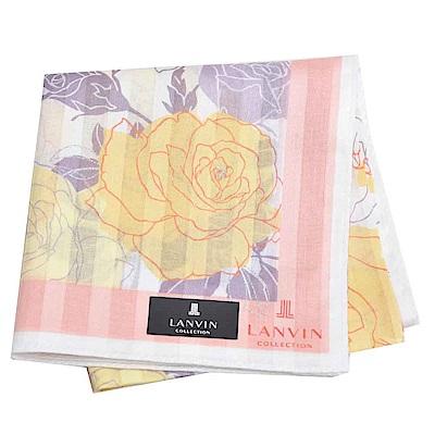 LANVIN 經典品牌玫瑰圖騰直紋LOGO大帕領巾(橘黃系)