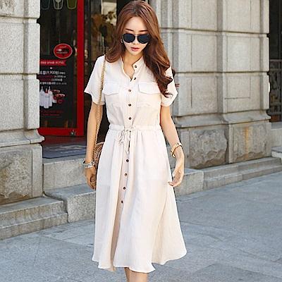 正韓 復古立領排扣棉麻短袖洋裝 (共二色)-N.C21