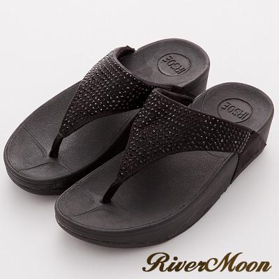 River&Moon拖鞋-單色晶鑽美體舒壓彈力夾腳涼鞋-黑