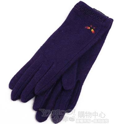 ANNA SUI 蕾絲滾邊彩色蝴蝶圖騰刺繡羊毛手套(紫)