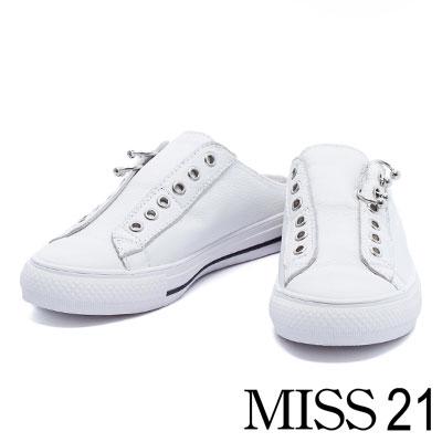 拖鞋 MISS 21 潮流個性活動穿環牛皮休閒拖鞋-白