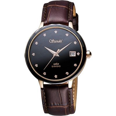 Standel 詩丹麗真鑽陶瓷框時尚腕錶-黑x咖啡錶帶/38mm