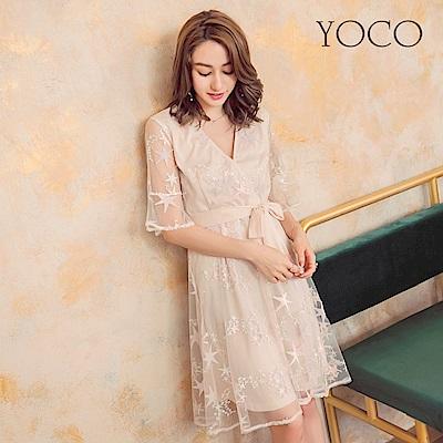東京著衣-yoco 女神星星透膚糖彩短袖綁帶洋裝-S.M.L(共一色)