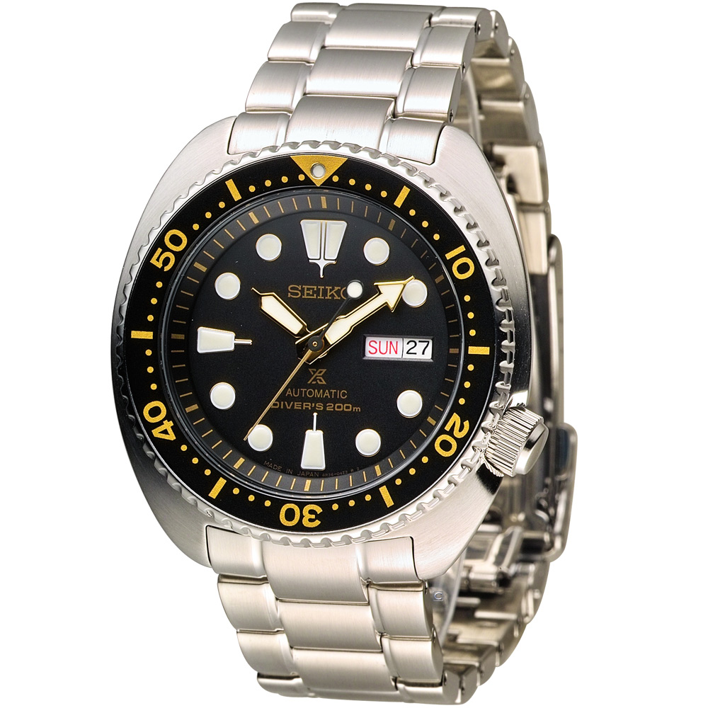 SEIKO PROSPEX 經典200米潛水機械錶(SRP775J1)-黑/44mm
