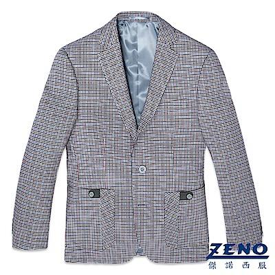 ZENO 英式格紋羊毛休閒西裝外套‧花呢格46-54