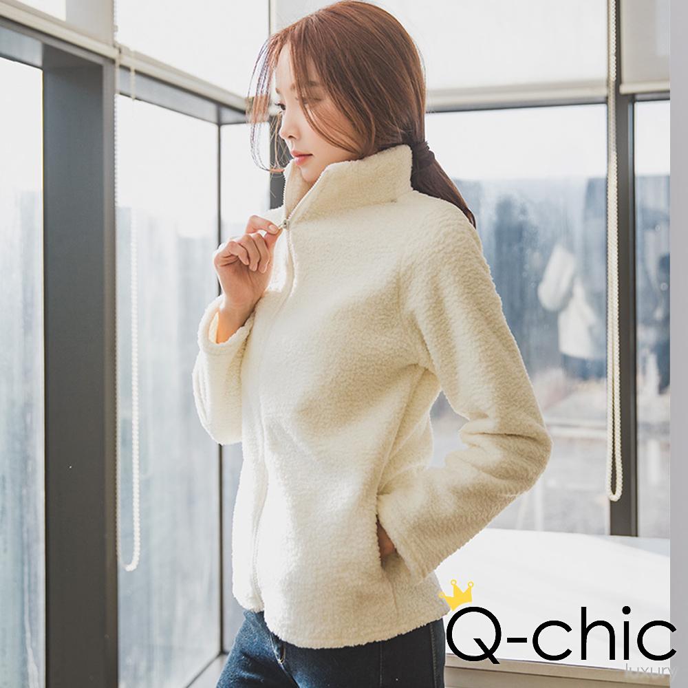正韓 +3度C柔軟羊羔絨高領外套 (共二色)-Q-chic