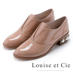Louise et Cie 亮面珍珠牛津粗中跟鞋-粉