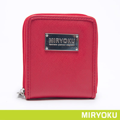 MIRYOKU-質感斜紋系列-俏麗直式拉鍊短夾-紅