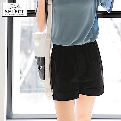 台灣製造~舒適彈性斜紋腰圍鬆緊褲管反褶休閒短褲.5色-OB嚴選