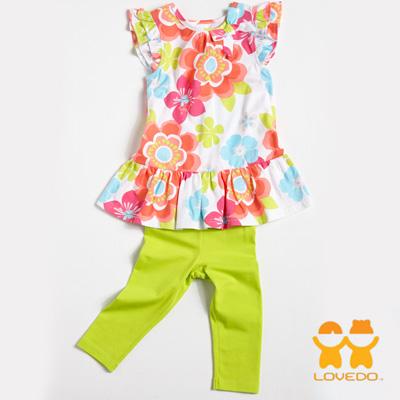 【LOVEDO-艾唯多童裝】夏日花朵綻放 短袖長褲兩件組套裝(白)