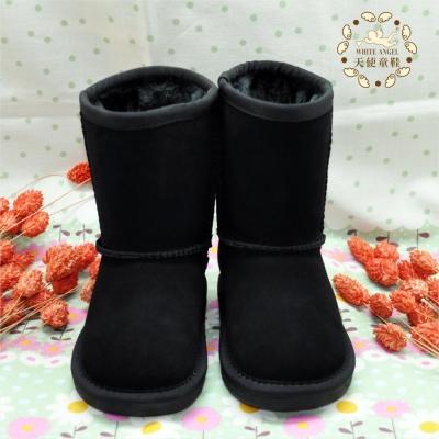 天使童鞋-B326 百搭簡約素面雪靴-黑