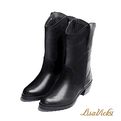 LisaVicky 冬天必備內鋪毛皮革長筒靴-霧面黑