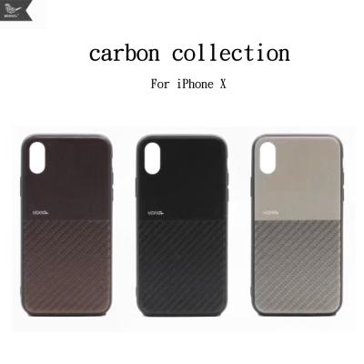 Mokka iphone X 復古仿碳纖維拼接手機保護殼