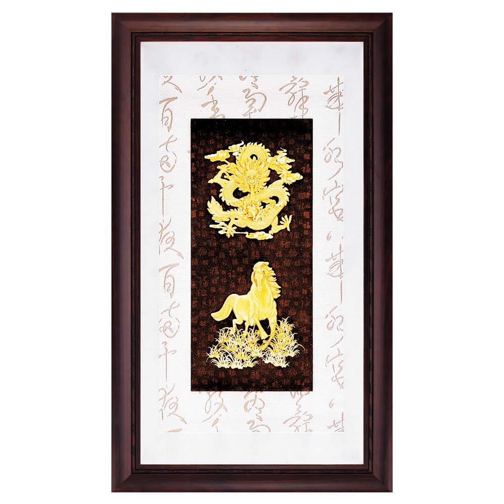 鹿港窯-立體金箔畫-龍馬精神(彩金系列48x82cm)